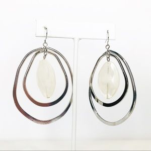 Silver Oval Hoops w/Large Cream Stone